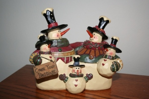 Snowman figurine I found last year.  It's our family!