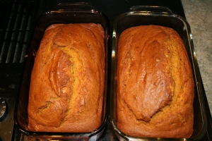 Two loaves of fresh pumpkin bread.  Mmmm...